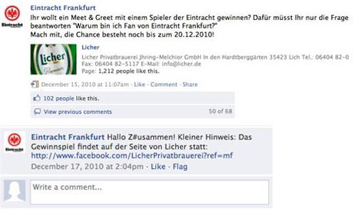 Facebook-Gewinnspiel von Eintracht Frankfurt