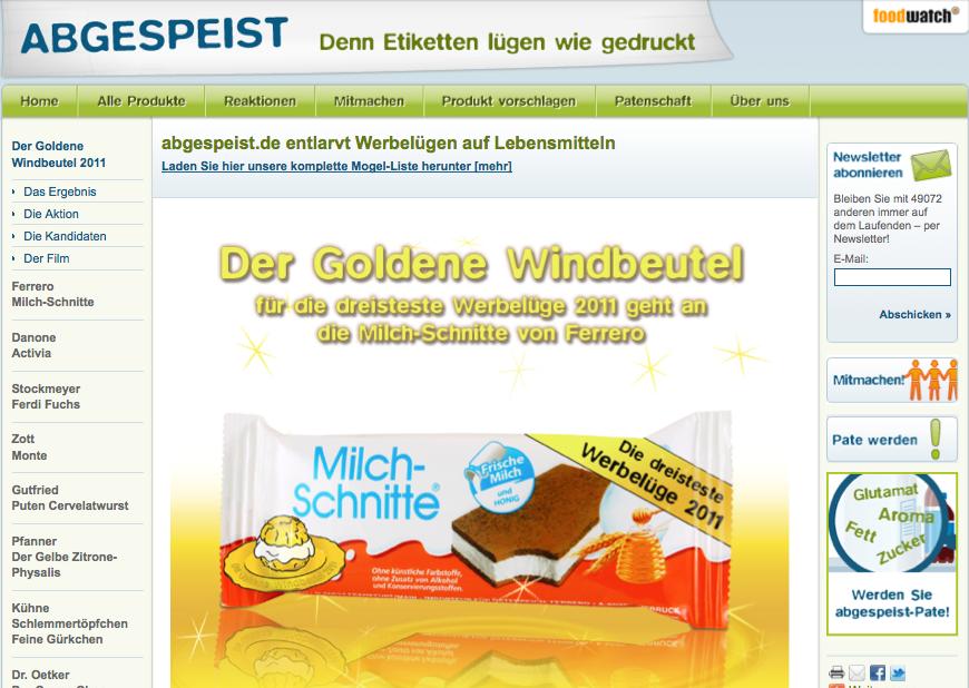 Foodwatch: Goldener Windbeutel 2011