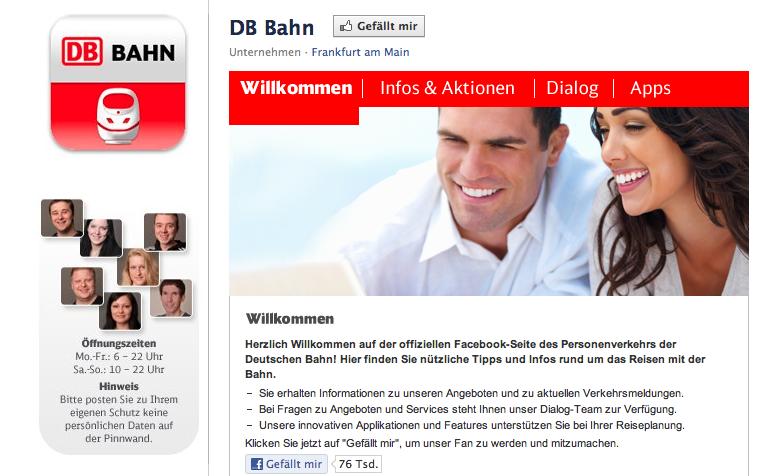 Der Facebook-Auftritt der Deutschen Bahn