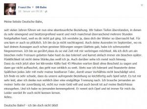 Liebste Deutsche Bahn - die charmante Kritik von Franzi Do