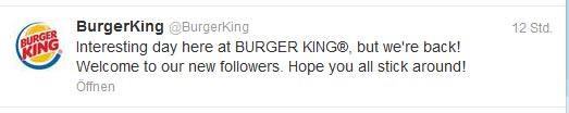 Burger King meldet sich zurück.