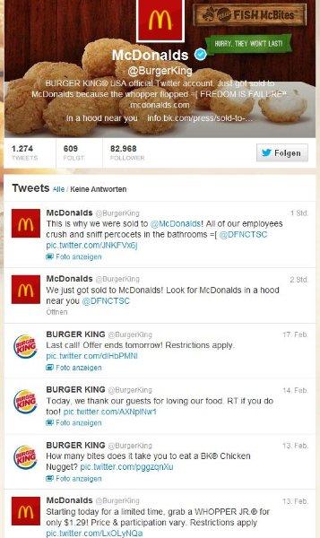 Bild des gehackten Twitter Accounts.