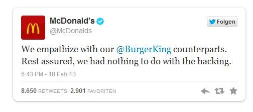 Tweet von McDonald's