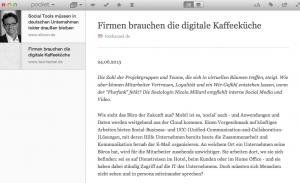 Einfaches Layout auch zum Offline-Lesen Bild: Screenshot Pocket App for Mac