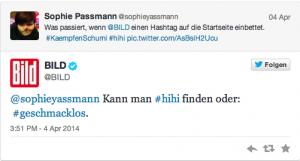 """Tweet-Antwort von Bild: """"Kann man #hihi finden oder #geschmacklos"""