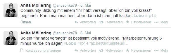 Bundessprecherin der Piratenpartei Anita Möllering twittert live von der re:publica.