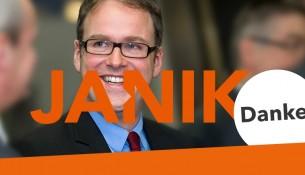 Nach dem Wahlsieg dankt Janik seinen Wählern auch über das Internet