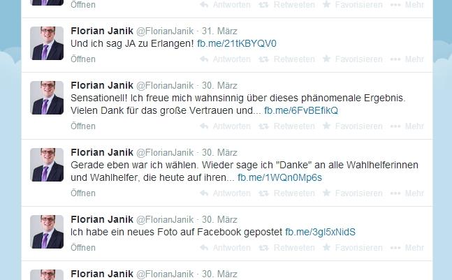 Auch am Wahltag auf Twitter sehr aktiv: Erlangens neuer Oberbürgermeister