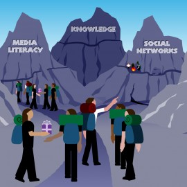 Menschen wandern im Internet