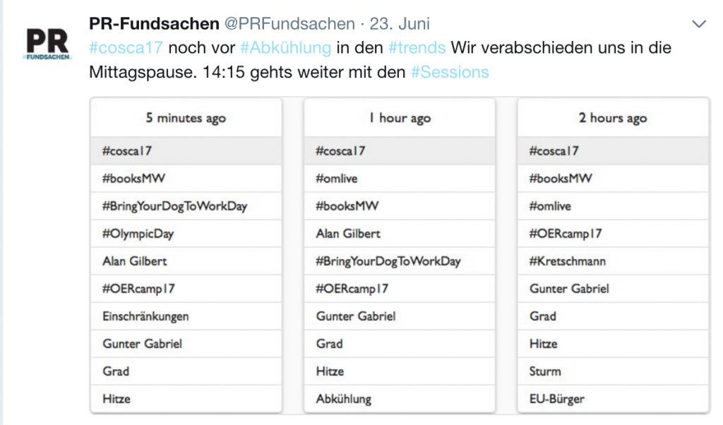 #cosca17 in den Twitter-Trends