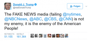 Fake News: Tweet von Donald Trump