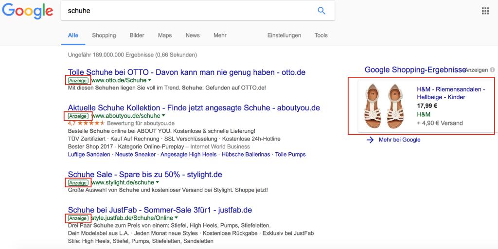 Google Werbeanzeigen für Schuhe