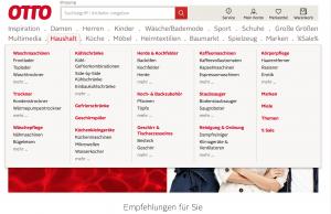 Unübersichtliche Startseite von Otto.de