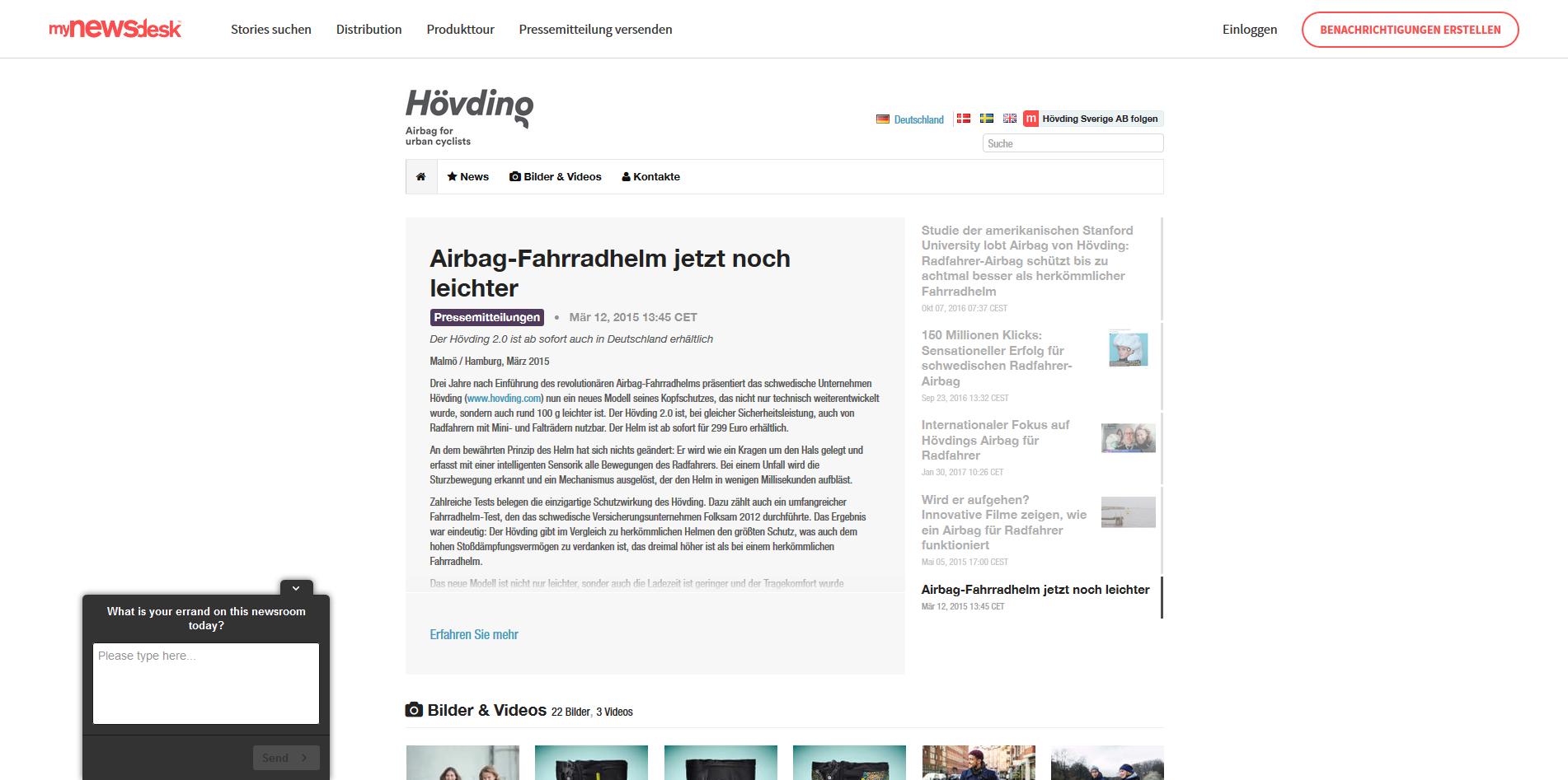 Mynewsdesk Hövding Newsroom