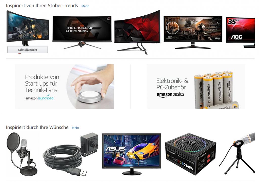 Personalisierte Amazon Startseite