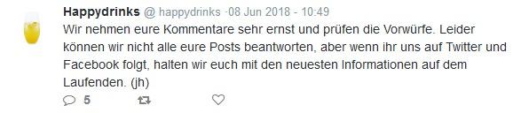 Tweet von @happydrinks am 8. Juni 2018 um 10:49 Uhr.