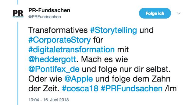 Screenshot vom Tweet von @PRFundsachen am 16. Juni 2018