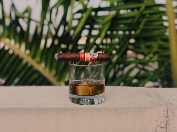 Ein Rumglas steht auf dem Tisch, worauf eine Zigarre liegt. Im Hintergrund sind Palmenblätter.